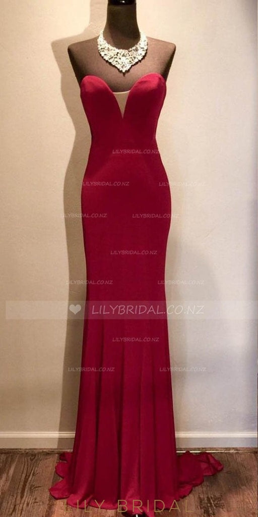 Mermaid Strapless Sweetheart Sweep Train Evening Dress With Pleats