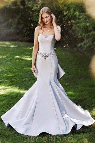 Mermaid Sweetheart Strapless Drop Waist Satin Prom Dress With Beaded Belt