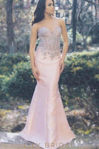 Mermaid Sweetheart Strapless Floor-Length Satin Prom Dress With Lace Bodice