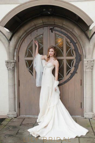 Mermaid Sweetheart Strapless Ivory Satin Court Train Bridal Dress With Lace Applique