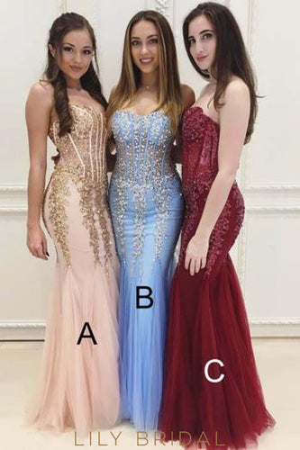 Mermaid Sweetheart Strapless Tulle Floor-Length Prom Dress With Sequin Applique