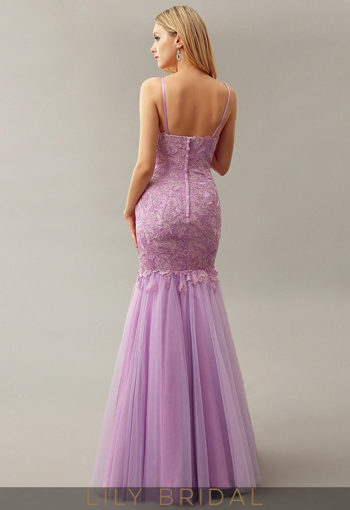 Mermaid Lace Tulle  Dropped Waist Floor-Length Prom Dress