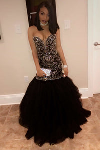 Mermaid Tulle Sweetheart Strapless Beaded Prom Dress