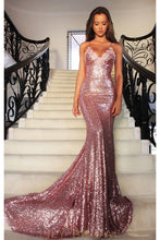 Mermaid Sequin Spaghetti Strap Lace-Up Back Sweep Train Prom Dress