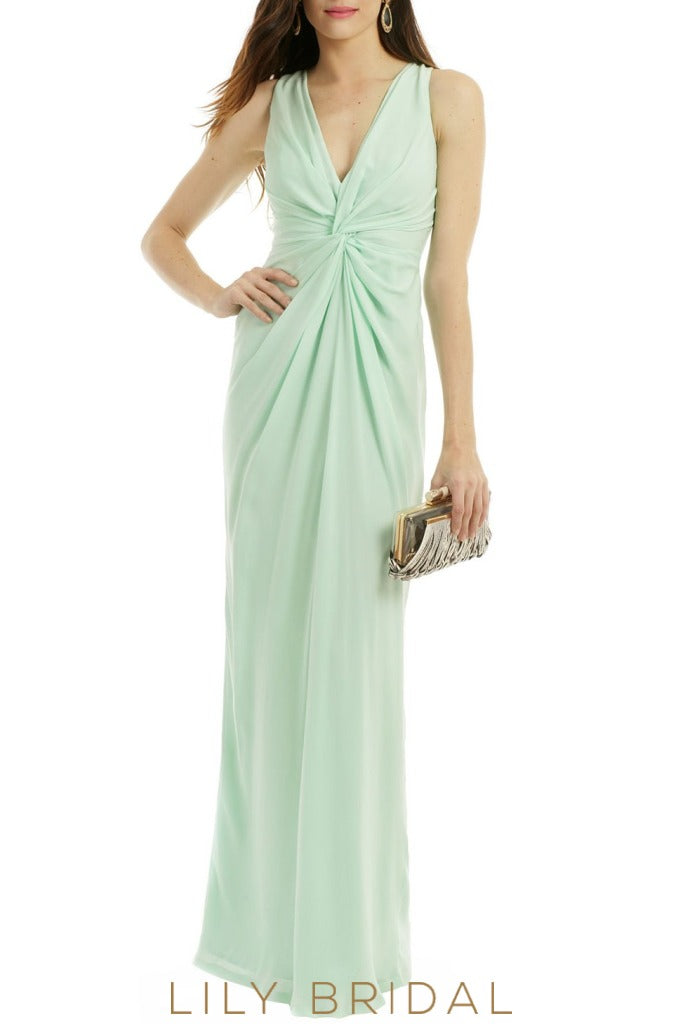 Mint Green Sheath Sleeveless V-Neckline Floor Length Bridesmaid Dress