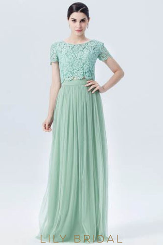 Mint Green Short Sleeve Two-Piece Bridesmaid Dress With Lace Bodice