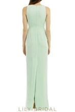 Mint Sheath Sleeveless V-Neckline Floor Length Bridesmaid Dress