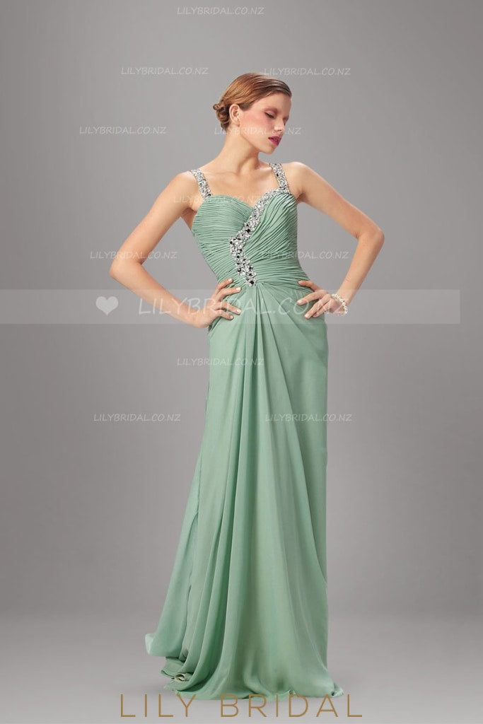 Mint Green Strap Illusion Back Beaded Chiffon Evening Dress With Sweep Train