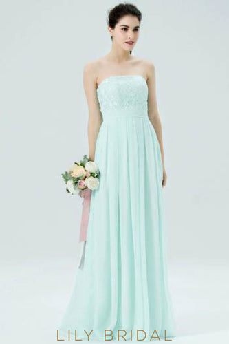 90791f5e01a Mint Green Strapless Pleated Chiffon Bridesmaid Dress With Lace Bodice