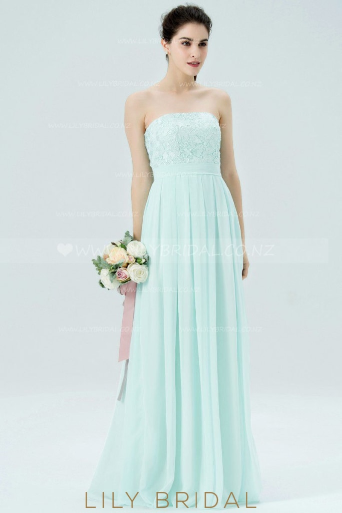 Mint Green Strapless Pleated Chiffon Bridesmaid Dress With Lace Bodice