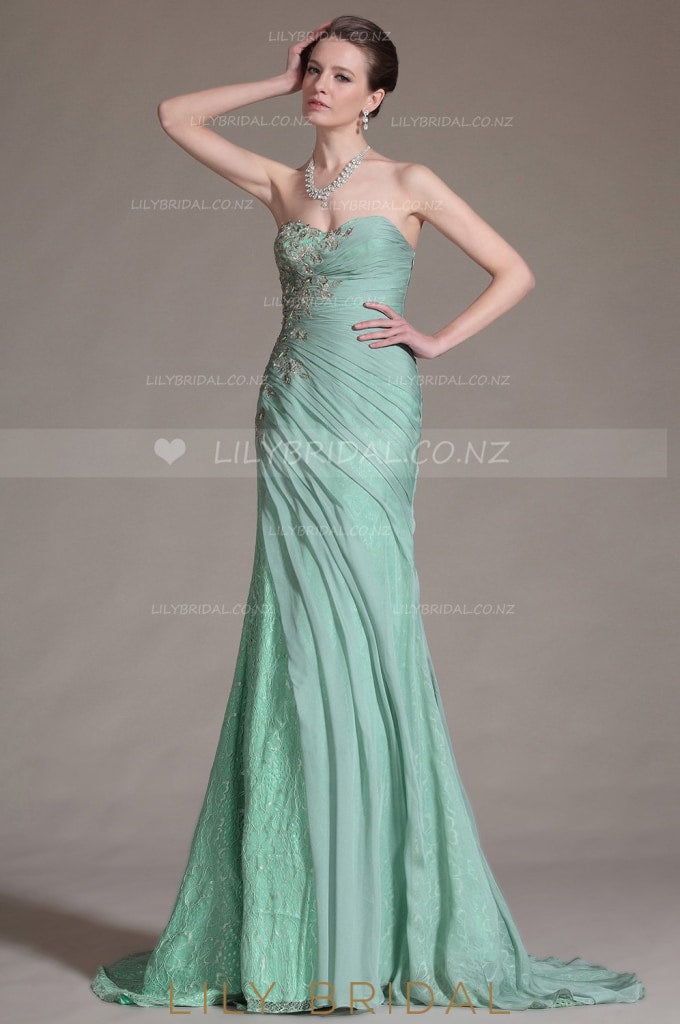 Mint Green Sweetheart Strapless Appliqued Lace Chiffon Evening Dress With Sweep Train