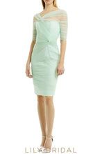Mint Green Tulle V-Neck 1/2 Sleeve Sheath Ruched Bridesmaid Dress