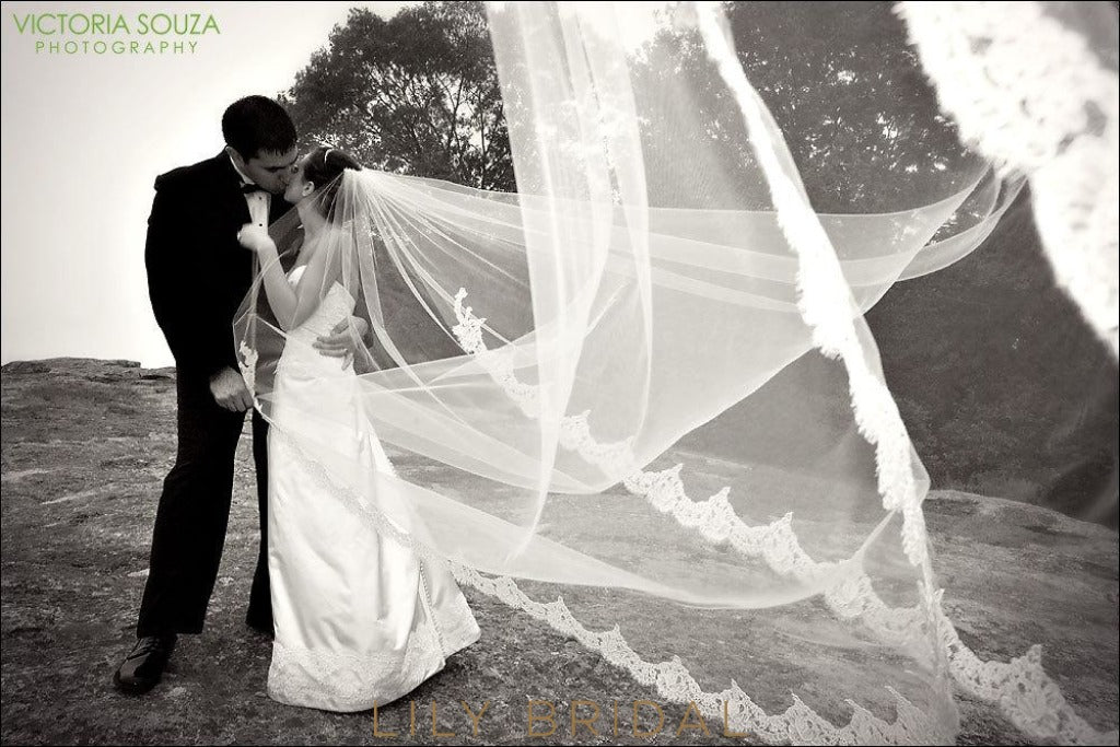 Modern one layer chapel length veil with lace applique u lilybridal