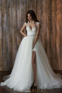 Modern Tulle V-Neck Cap Sleeve Crystal Wedding Dresses
