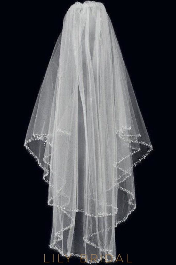 Modern Two Layer Wedding Veil with Shinning Beaded Edge