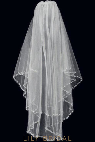 beaded edge weeding veil