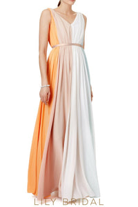 Multicolor Chiffon V-Neck Sleeveless Floor Length Bridesmaid Dress With Belt
