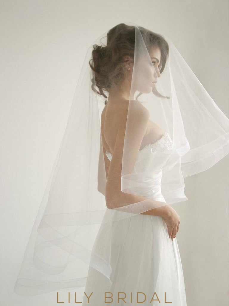 Two Tier Natural Tulle Wedding Veil with Mohair Edging