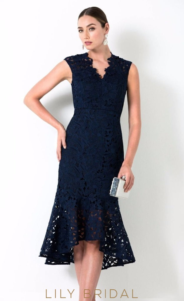 Lace Sleeveless V-Neck High-Low Mother of the Bride Dress