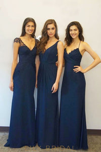 Navy Blue Lace Chiffon Cap Sleeves A-Line Bridesmaid Dress