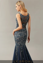 Blue Tulle Illusion Sweetheart Sleeveless Mermaid Mother of the Bride Dresses