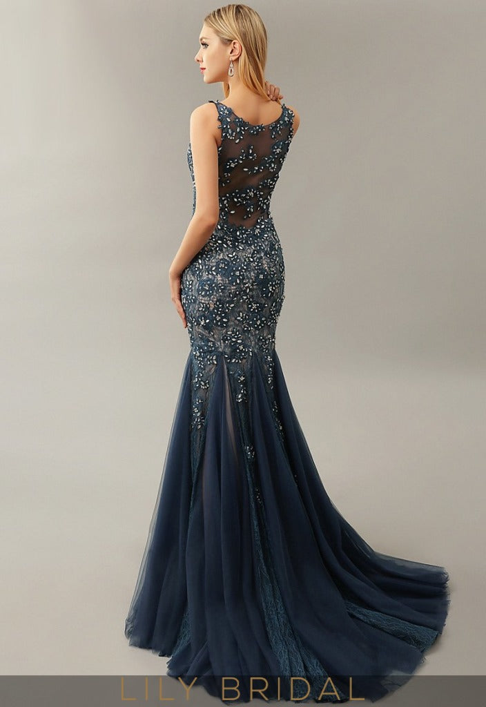 Navy Tulle Illusion Sweetheart Sleeveless Mermaid Mother of the Bride Dresses