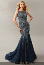 Navy Blue Tulle Illusion Sweetheart Sleeveless Mermaid Mother of the Bride Dresses