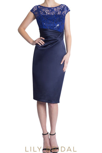 Navy Lace Satin Sheer Batesu Neck Cap Sleeve Mother of the Bride Dress