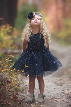 Dark Navy Tulle Sleeveless Ball Gown Knee-Length Flower Girl Dress With Sequins