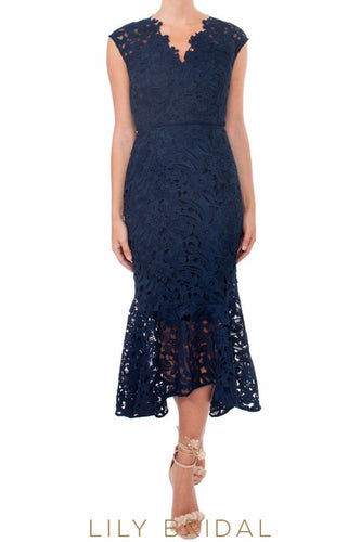 Navy Blue Lace Sleeveless V-Neck High-Low Mother of the Bride Dress