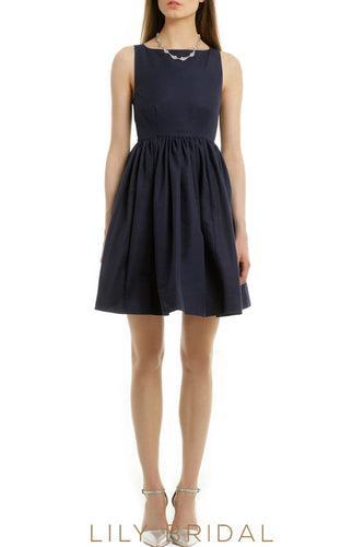 Navy Jersey Square High Sleeveless Bridesmaid Dress with Bow at the Back
