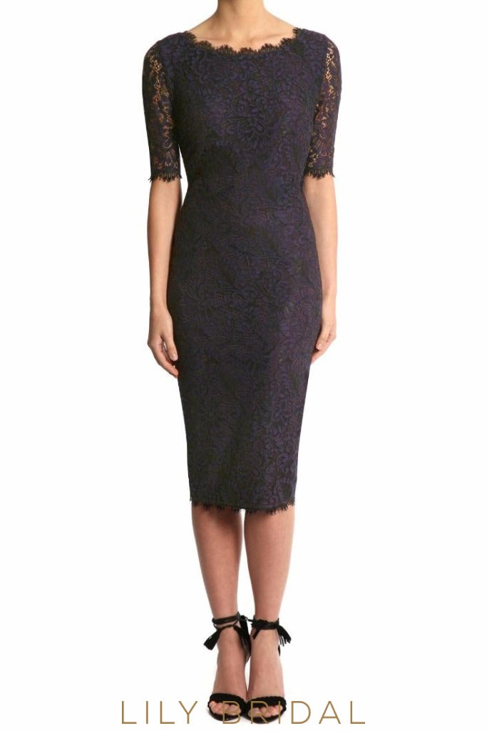 Navy Lace Jewel Half Sleeves Tea Length Sheath Mother of the Bride Dress