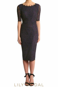 Navy Lace Jewel Half Sleeves Tea Length Sheath Mother of the Bride Dresses