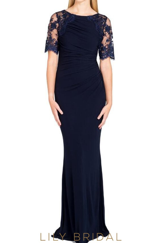 Navy Lace Satin Jewel Illusion Poet Sleeves Sheath Mother of the Bride Dresses