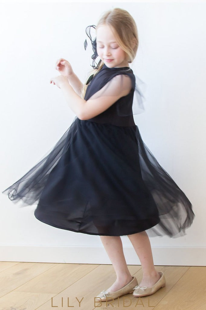 Jewel A-Line Knee-Length Tulle Flower Girl Dress With Flutter Sleeve