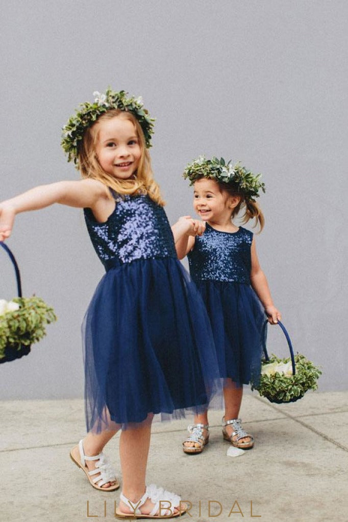 Navy Sequinned Tulle Sleeveless Knee Length A-Line Flower Girl Dresses