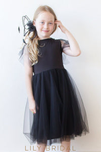 Dark Navy Jewel A-Line Knee-Length Tulle Flower Girl Dress With Flutter Sleeve