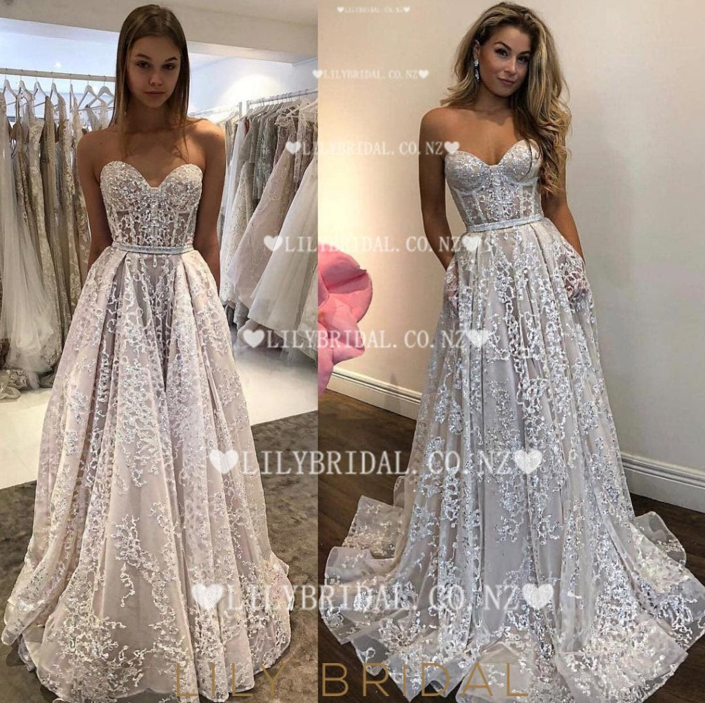 Applique Illusion Sweetheart Sleeveless Long Organza Wedding Dress with Sweep Train