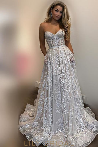 d1cb4dfbba1 Applique Illusion Sweetheart Sleeveless Long Organza Wedding Dress with Sweep  Train
