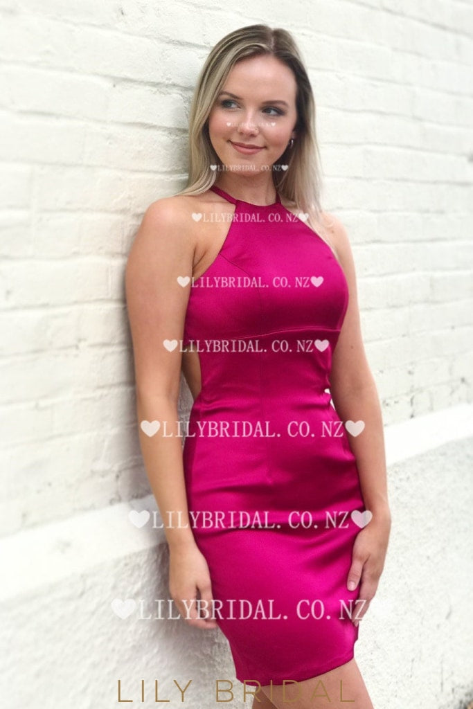 Elegant Jewel Neck Sleeveless Open Back Short Solid Bodycon Cocktail Dress