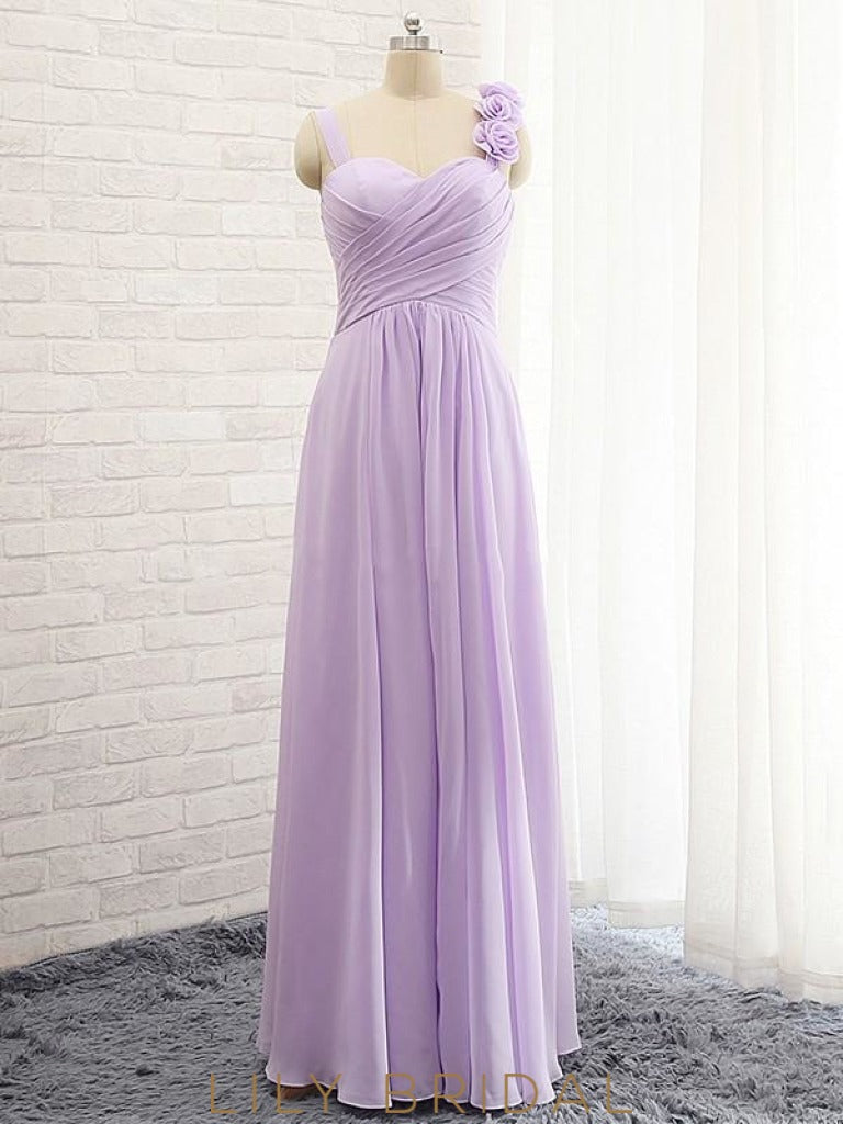 Elegant A-line Sweetheart Strap Chiffon Bridesmaid Dress With Hand-Made Flower