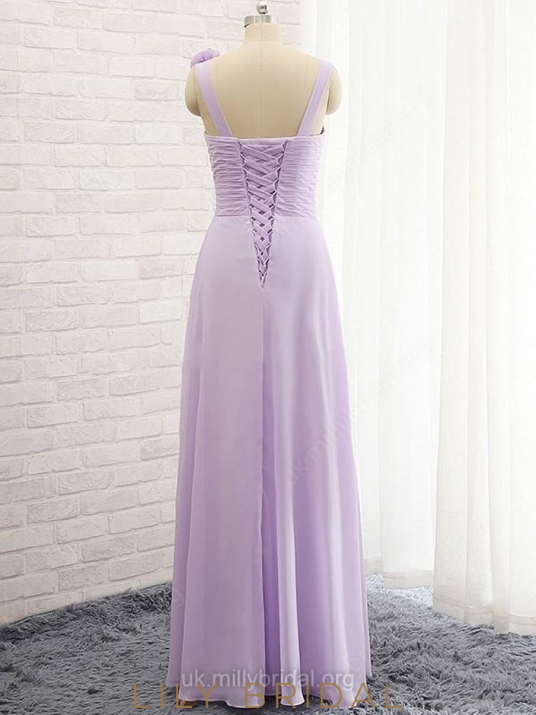 Elegant A-line Sweetheart Strap Bridesmaid Dress With Hand-Made Flower