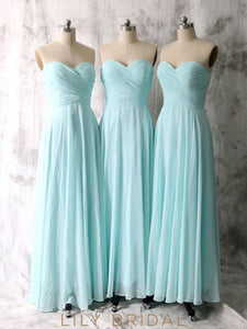 Elegant Sweetheart Strapless Sky Blue Long Chiffon Bridesmaid Dress With Ruched Bodice