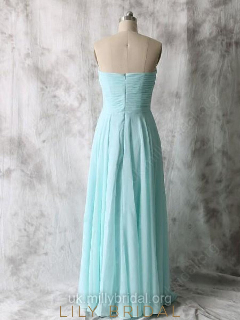 Sweetheart Strapless Sky Blue Long Chiffon Bridesmaid Dress With Ruched Bodice