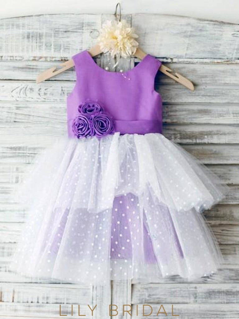 Ball Gown Scoop Neck Satin Tulle Ankle-Length Tiered Flower Girl Dresses