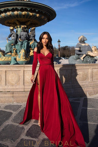 0adc82a0f08 Sexy Off Shoulder Long Sleeves Long Solid Slit Fit-And-Flare Jersey Prom  Dress