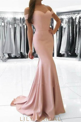 Elegant Off Shoulder Long Solid Stretch Mermaid Evening Dress with Sweep Train