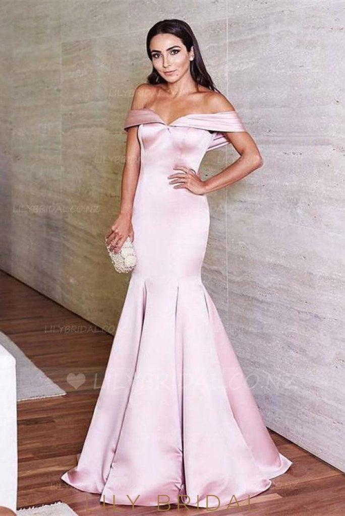 Off Shoulder Short Sleeves Zipper Up Long Solid Stretch Ruched Mermaid Evening Dress