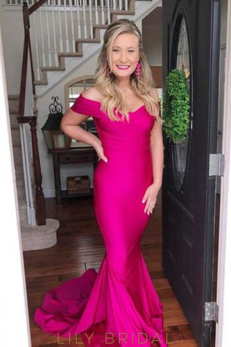 Elegant Off Shoulder Short Sleeves Zipper-Up Long Solid Stretch Mermaid Prom Dress