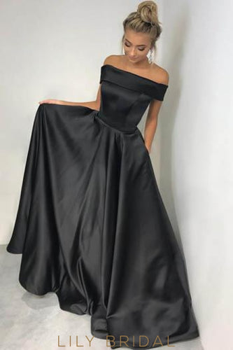 Elegant Off Shoulder Zipper-Up Long Solid Satin Evening Dress with Sweep Train